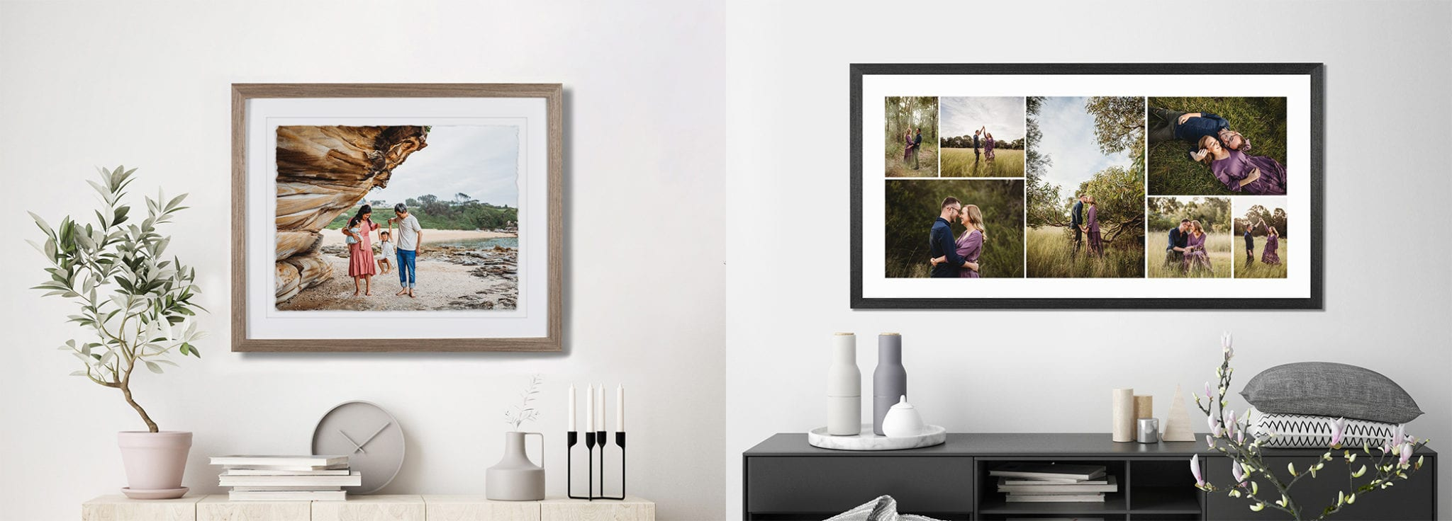 Photograph of wall art options available, family and cake smash sessions